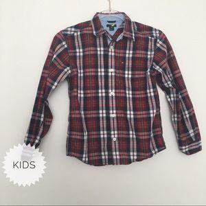 Tommy Hilfiger Plaid Button Down Shirt Kids Small